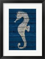 Framed Antique Seahorse on Blue II