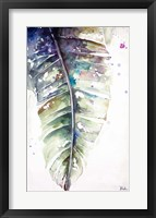 Framed Watercolor Plantain Leaves with Purple I