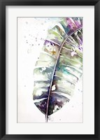 Framed Watercolor Plantain Leaves with Purple II