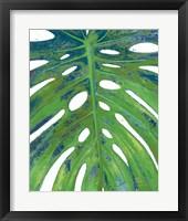 Tropical Leaf with Blue II Framed Print