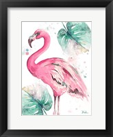 Framed Watercolor Leaf Flamingo I