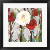 Framed Red Romantic Blossoms II