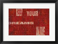 Framed Keep Your Dreams Alive