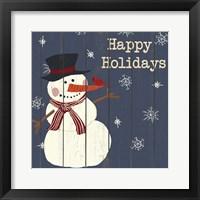 Cardinals And Snowmen I Framed Print