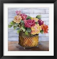 Framed Roses in Copper Pot