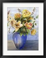 Framed Yellow Roses in Blue Vase