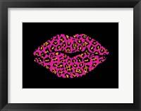 Framed Pink Leopard Lips