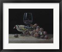 Framed Goldfinch And The Glass Of Wine