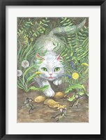 Framed White Cat And Mice