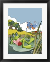 Framed Little Frog And Butterfly