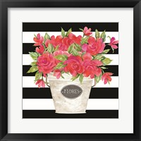 Framed Fuchsia Flores Stripes