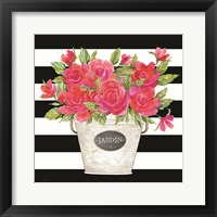 Framed Fuchsia Jardin Stripes