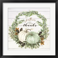 Framed Gather and Give Thanks Wreath