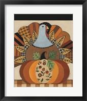 Framed Turkey and Patterned Pumpkin