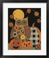 Framed Floral Owl and Pumpkins
