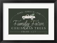 Vintage Christmas VII Green Framed Print