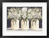 Framed White Floral Trio
