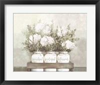 Framed White Flower Jars