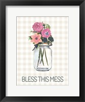 Framed Bless This Mess Flowers