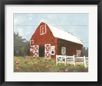 Framed Flower Field Barn