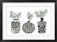 Framed Geometric Vases I Green