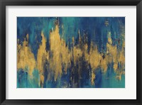 Framed Blue and Gold Abstract Crop