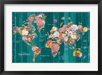 Framed Botanical Floral Map Words Aqua