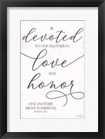 Framed Devoted to Love and Honor