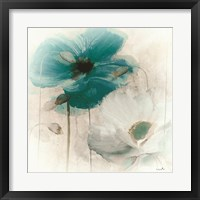 Teal Poppies I Framed Print
