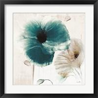 Framed Teal Poppies II