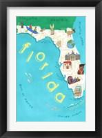 Framed Illustrated State Maps Florida