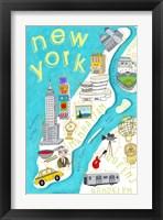 Framed Illustrated State Maps New York