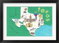 Framed Illustrated State Maps Texas