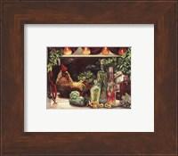 Framed Rooster & Oils