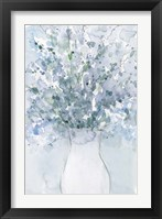 Powder Blue Arrangement in Vase I Framed Print