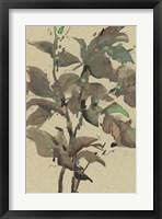 Leaves on Taupe I Framed Print