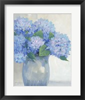 Blue Hydrangeas in Vase I Framed Print