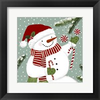 Peppermint Snowman I Framed Print