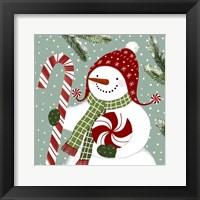 Peppermint Snowman II Framed Print