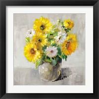 Sunflower Still Life I on Gray Framed Print