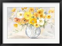Framed Bright Poppies Vase yellow gray