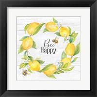 Framed Lemons & Bees Sentiment woodgrain II