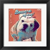 Framed Pet Sentiment III-Beware