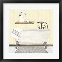 Farmhouse Bath I Gray & Yellow 2-Tub Framed Print