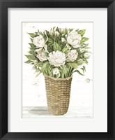 Peony Basket Framed Print