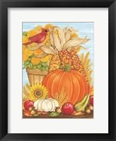 Framed Fall Pumpkin & Cardinal