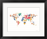 Framed Abstract Colorful World Map