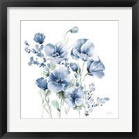 Secret Garden Bouquet II Blue Framed Print