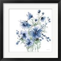 Secret Garden Bouquet I Blue Framed Print