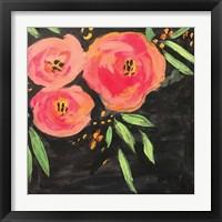 Framed Black and Pink Floral